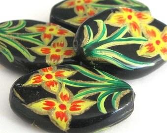 Handpainted Flower Beads E222