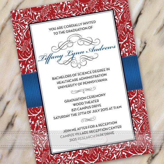 graduation invitations, crimson and royal blue graduation invitations, crimson and royal blue college graduation, grad party, IN387v2