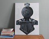 "SALE. train art. 18""x24"" old steam engine. original canvas art. READY to SHIP.  vintage. steel, gray, grey, black, white decor."