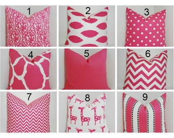 Candy Pink Pillow Covers Decorative Throw Pillow Covers Choose Fabric Choose Size