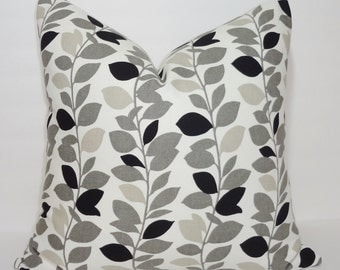 Waverly Leaf Ivy Vine Garland Print Pillow Cover Black & Grey White Decorative Throw Pillow Cover 18x18