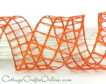 "Burlap Wired Ribbon, 2 1/2"", Orange Mesh Squares Natural - THREE & 2/3 YARDS - d. stevens, ""Jute Squares"", #70222 Halloween Wire Edge Ribbon"