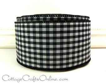 """Wired Ribbon, 2 1/2"""" Black and White Check Gingham Plaid - FOUR & 1/2 YARDS - """"Great Gingham Black"""" #705113 Wire Edged Ribbon"""