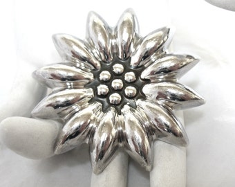Sterling Silver Floral Brooch Pendant, large,  signed Mexico,  sunflower, daisy, Excellent