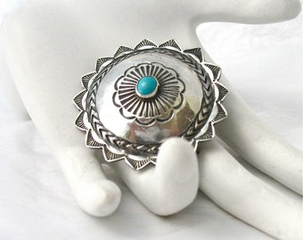 Sterling Concho Brooch, Turquoise, 925 Silver, Native American, Excellent