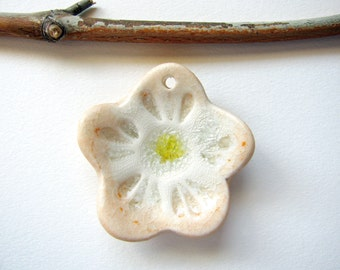 Pale Peach Flower Pendant Stoneware Clay