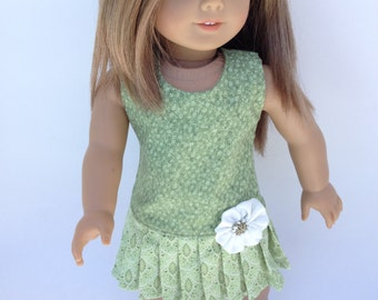 18 inch Doll Dress,  Pale Olive Green Pleated Dress,  made to fit 18 inch dolls such as American Girl and similar 18 inch dolls