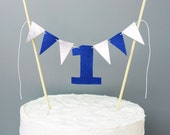 Royal Blue and Silver First Birthday Cake Topper, 1 Year Old Boy Cake Banner, Smash Cake Topper, 1st Birthday Baby Boy, Number 1 One