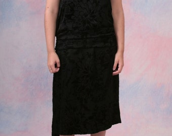 Vintage 20's AUTHENTIC Chiffon Flocked Velvet Lace Drop Waist FLAPPER Dress One Size