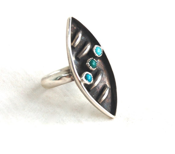 Sterling Silver Turquoise Ring Size 7 Vintage Native American Jewelry Dishta Style Desert DNA