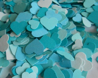 Over 2000 Mini Confetti Hearts. Shades of Turquoise & Teal Blue. Weddings, Showers, Decorations. ANY COLOR Available.