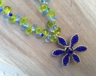 Handmade Flower Power Blue and Green Glass Drops Necklace