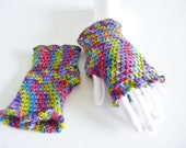 Fingerless Gloves - Wrist warmers wool rainbow multi colored eco friendly