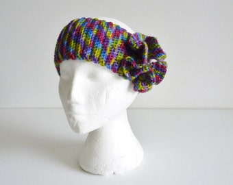 Headband Ear Warmer with large ruffle flower in multi colored wool bright rainbow colors