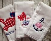 Set of 3 Personalized Burp Cloths - Diaper Cloths - Baby Girl - Monogrammed - Gift Set - Crab - Baseball