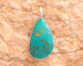 Turquoise Pendant in Sterling Silver~Turquoise Pendant~Sterling Silver Turquoise Pendant-Turquoise Sterling Pendant-Sterling