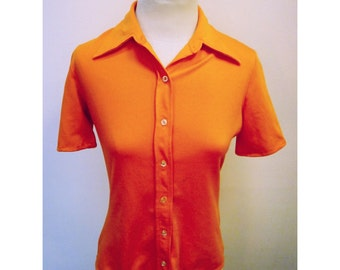 Vintage 70s Orange Mod Shirt - 10/M