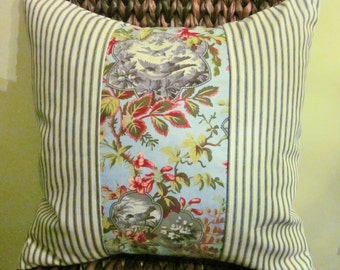 Ticking and Toile Pillow Cover, Black Ticking and Multi Colored Bird Toile, Color Block, Cottage Chic, French Cottage
