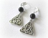 Trinity earrings antiqued silver celtic jewelry black onyx earrings medieval style