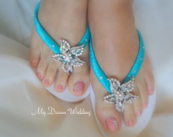 Bridal flip flops, Wedding flip flops, wedding sandals, bridal sandals, sandals, flip flops wedding, beach flip flops. Starfish Collection 1