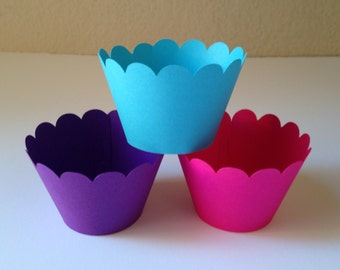 Blue, Hot Pink and Purple Party Cupcake Wrappers - Party Decorations - Cupcake Holders - Baby Shower Decor - Cupcake Wraps - Set of 12
