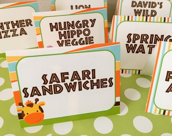 Safari Jungle Zoo Personalized and Printed Food Labels Tent Cards - Placecards - Safari Party Decorations - Jungle Party Decor - Set of 8