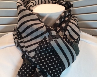 Black and White Patchwork Chiffon Long Scarf (itm272)