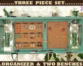 "3 Piece Set..Jewelry Organizer & 2 Benches... Wall Display Shelf Message Board..""JADE over BLACK""or You Choose Color ."