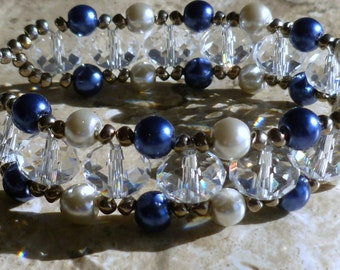Right angle weave bracelet - Czech crystal, royal blue and white pearls