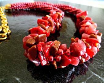 "Red beaded Kumihimo cluster necklace, adjustable necklace, ""Firecracker"""
