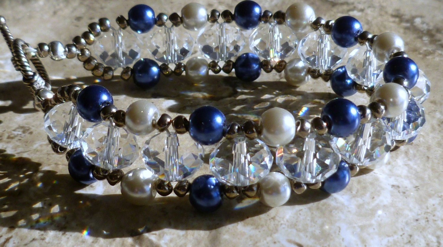 Right Angle Crystal : Right angle weave bracelet czech crystal royal blue and