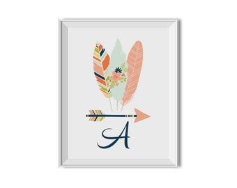 Tribal Art, Tribal Arrows, Tribal Feathers, Monogram, Feathers, Arrow, Nursery Art, Children's Room Decor, Monogram, Pink, Navy Blue.