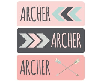 Girl Name Labels, Baby Bottle Labels, Daycare Labels, Name Labels, Personalized Waterproof Labels, Waterproof Label, Tribal Arrow