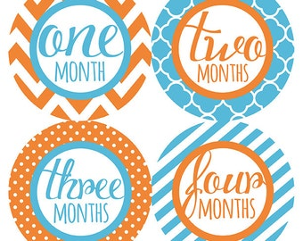 FREE GIFT, Monthly Baby Stickers Boy, Orange, Teal, Blue, Turquoise, Baby Month Stickers, Milestones Stickers, Baby Gift, Chevron