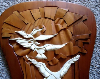 Vintage 70s Retro Mod Dimensional Wood Wall Art Sculpture - Original Signed
