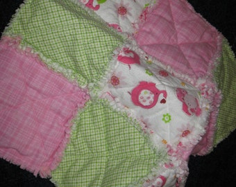 PRICED REDUCED - Little Pink Green and White Flannel Rag Quilt Security Blanket