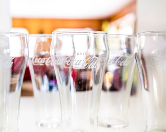 set of five vintage coke - coca cola glasses : tumblers float fountain drinks
