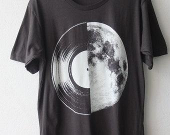 Half  Moon Record Album Graphic Music Printed T Shirt S,M,L or XL