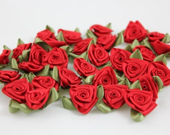 Satin Ribbon Roses - Red with Moss Green Leaves