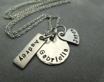 personalized mothers necklace, hand stamped stainless steel 3 names