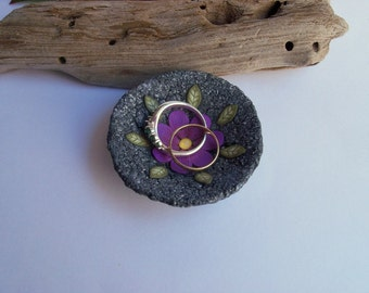 Small Ring Bowl, black polymer clay ring dish