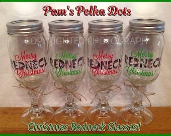 4 MERRY REDNECK CHRISTMAS Redneck Wine Glasses Country Hillbilly Mason Jar Great Christmas Gift