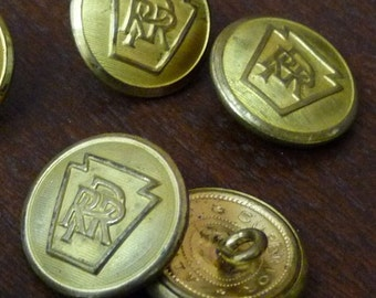 Pennsylvania Railroad Buttons - 4 Large Gold Tone