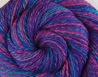 Luxury Handspun Yarn, 3 ply - ROYAL EMPRESS - Handpainted Silk / Yak / Merino wool, DK weight, 288 yards