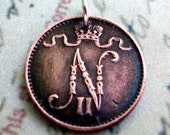 Finland COIN NECKLACE - monogram N - Antique rare Finnish coin - 1 Penni coin - coin jewelry - Initial N - Nicolas, Nicholas, Nick, Nicole