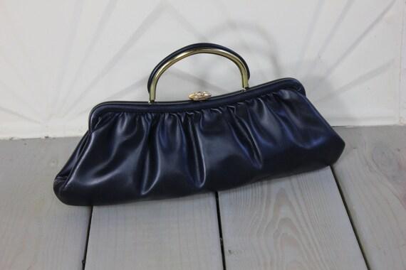 Gold Navy Blue LEATHER Mad Men Purse Handbag Secretary Mod Dolly ...