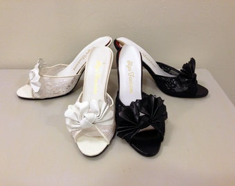 2 Pairs Black & White Vintage Heels with Lace and Leather Fan Design / Black Swan White Swan / Wedding Shoes / Vintage Heels / Lace Heels