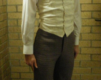 Custom Made Mens Wool High Waist Trousers. Victorian Mens Clothing. Historical Costume. Mens Victorian Costume