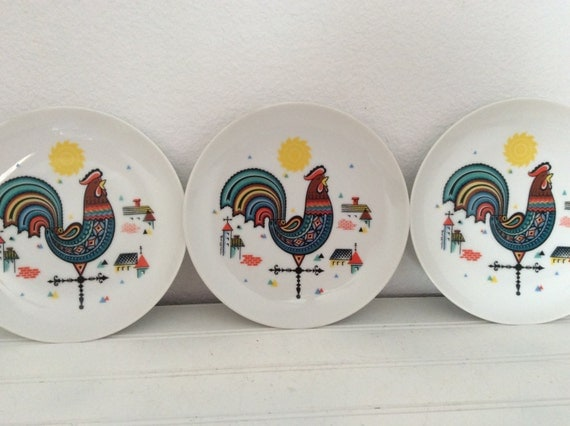 French Country Rooster Plates Set Of 3 By Mushroommary On Etsy
