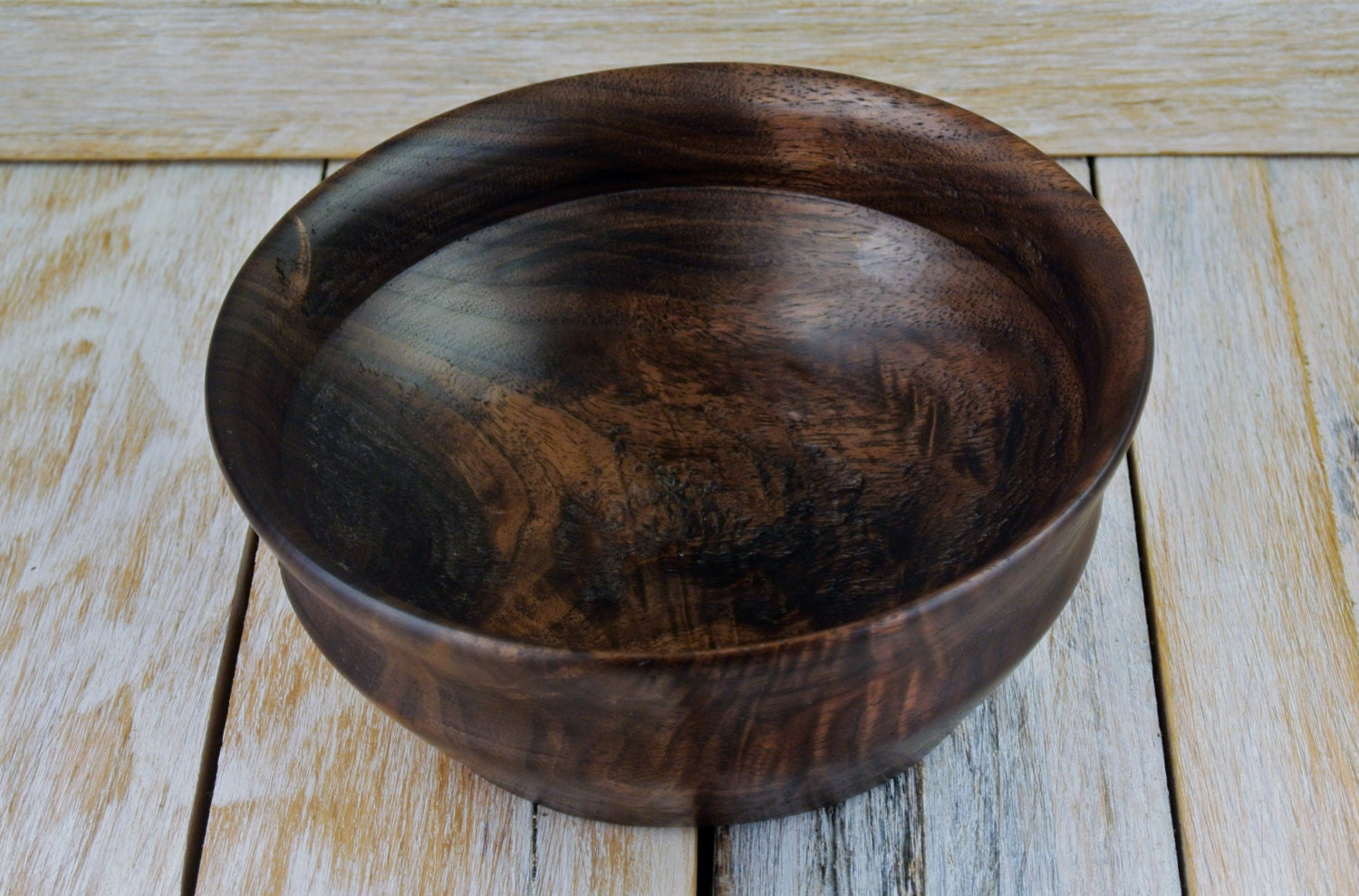 Wooden centerpiece bowl figured black walnut wood carving
